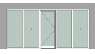 Двупольные двери EIW-15 в составе светопрозрачной перегородки с фрамугой